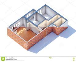 house interior design planning sketch draft 3d rendering stock