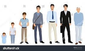 men set different generation aging men set isolated stock vector 201585695
