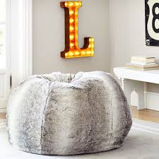 Big Bean Bag Chair Gray Ombre Faux Fur Beanbag Pbteen