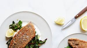 almond crusted trout with white grits and swiss chard recipe bon