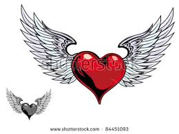 Hearts With Wings - with wings stock images royalty free images