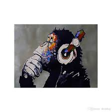 Shop Online Decoration For Home Hand Painted Modern Abstract Oil Painting Orangutan Listening To