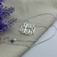 3 Initial Monogram Necklace Sterling Silver 3 Initials Sterling Silver Monogram Necklace Personalized