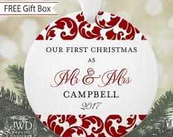 couples ornament personalized first christmas ornament wedding