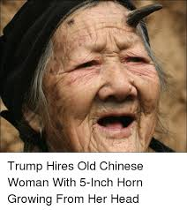 Funny Chinese Meme - trump hires old chinese woman with 5 inch horn growing from her
