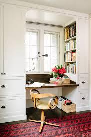 Bookshelves And Desk Built In by Offie Nook Red Rug Built In Wood Desk Dark Wood Floors Custom