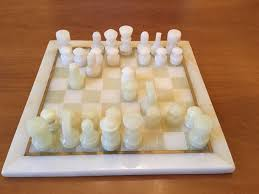 turkish onyx 1970s chess set in green and white in waterloo