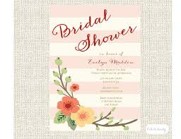 bridal luncheon floral and stripes bridal shower invitation or bridal luncheon