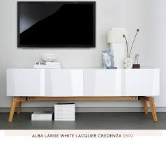 White Lacquer Credenza Cb2 Media Consoles From 399 Milled