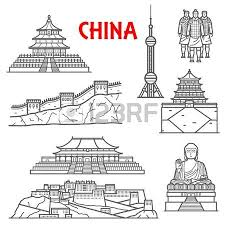 famous ancient and modern tourist attractions of china icon for