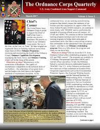 ordnance quarterly newsletter mar 2017 by us army ordnance corps