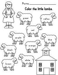 mary had a little lamb color words sheet kindergarten ela