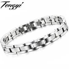 magnetic stone bracelet images Punk trend cool men 39 s jewelry stainless steel bracelet handmade jpg