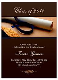unique graduation invitation announcement brown gold word