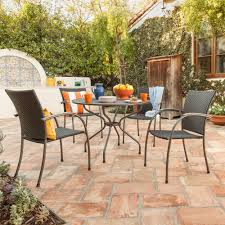 Ludwig Piece Patio Dining Set With Wicker Chairs Round Dining - Round dining table with wicker chairs