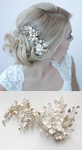 wedding accessories gorgeous gold bridal comb with ivory flower petals and gold leaves