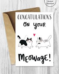 congratulations marriage card wedding card printables marriage cards cat marriage card