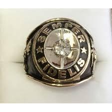custom rings with images Custom 14k gold marine corps ring with diamond center jpg