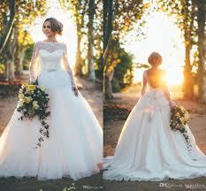 2016 winter lace wedding dresses vintage sheer neck long sleeves