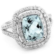 aquamarine diamond ring blue aquamarine diamond halo cocktail ring split shank