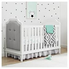 White Crib With Changing Table Baby Relax Luna 3 In 1 Upholstered Crib White Target