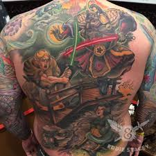 best tattoo ever vader and luke battle in feudal japan mightymega