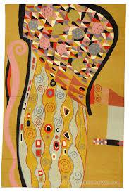 Rug Modern Klimt Modern Mustard Wool Rug Wall Tapestry Nouveau