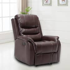 Faux Leather Recliner Ebello Home Furnishings Stanley Oversized Brown Faux Leather