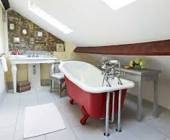 stone cottage filled with upcycled finds period living stone cottage bathroom with red roll top bath