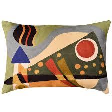 Modern Throw Pillows For Sofa Lumbar Kandinsky Throw Pillow Composition Vii Green