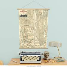 Nyc Subway Map Poster by Manhattan Poster New York Street Map Vintage Style Paper