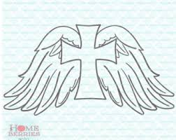 cross with wings svg etsy