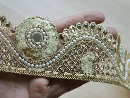 gold lace ribbon metallic gota ribbon gold kundan lace glass bead work