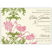 wording for bridal luncheon invitations floral lace pink and green bridesmaids luncheon invitations