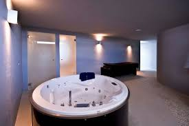 bathroom ultra modern round spa jacuzzi tub with white ceramic