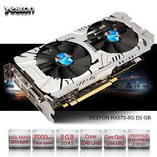 ordinateur de bureau jeux yeston radeon rx 570 gpu 8 gb gddr5 256 bits de jeu ordinateur de