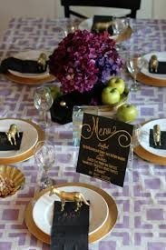 Gold Table Setting by Purple Black U0026 Gold Tablesetting Ideas Parties For Pennies