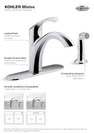 single handle kitchen faucet with side spray kohler mistos single handle standard kitchen faucet with side
