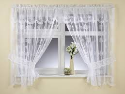 Tie Back Curtains Delicate Daisy White Or Cream Lace Net Window Tieback Curtain Set5