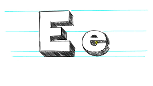 how to draw 3d letters e uppercase e and lowercase e in 90