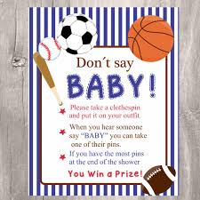 sport themed baby shower baby shower don t say baby printable sports baby clothespin