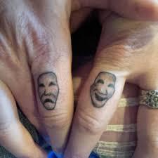 and tragedy mask matching tattoos