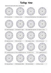 telling time worksheet by fatma2