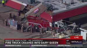 monster truck crashes video firetruck crashes into farmersville dairy queen 3 hurt