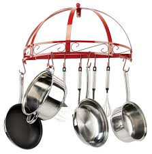 lighted hanging pot racks kitchen classicor red wrought iron round wall pot rack