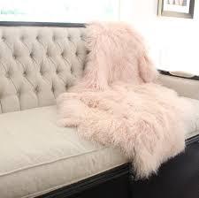 fur throws for sofas mongolian fur tibetan sheepskin pink throw blanket eluxury home