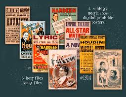 vintage magic show posters houdiniinstant digital