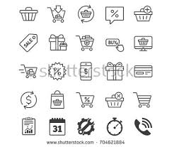shopping line icons gifts presents sale stock vector 704621884