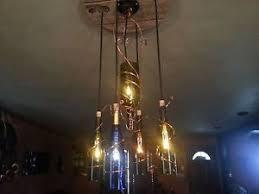 Wine Bottle Light Fixtures Wine Bottle Light Chandelier With Custom Copper U0026 Wood Burn