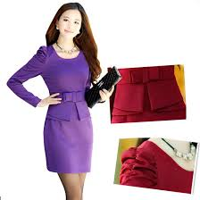suit dress women fit purple pencil dress office suit sleeve